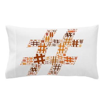 Orange Hashtag Cloud Pillow Case
