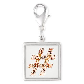 Orange Hashtag Cloud Silver Square Charm