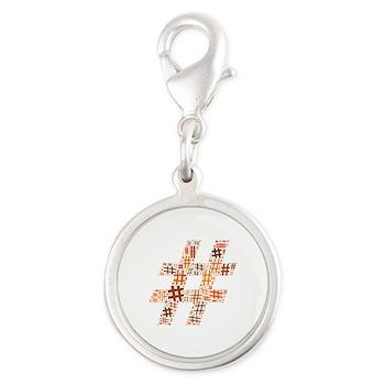 Orange Hashtag Cloud Silver Round Charm