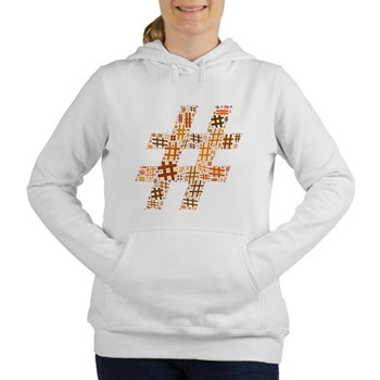 Orange Hashtag Cloud Women's Hooded Sweatshirt