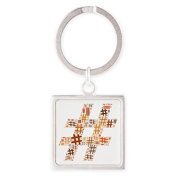 Orange Hashtag Cloud Square Keychain