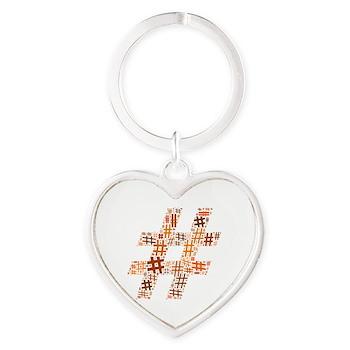 Orange Hashtag Cloud Heart Keychain