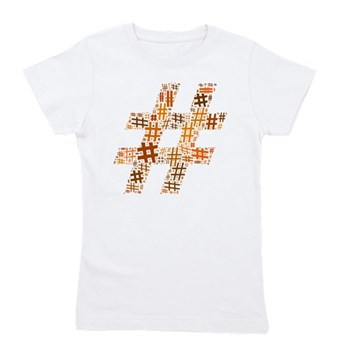 Orange Hashtag Cloud Girl's Tee