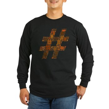 Orange Hashtag Cloud Long Sleeve Dark T-Shirt