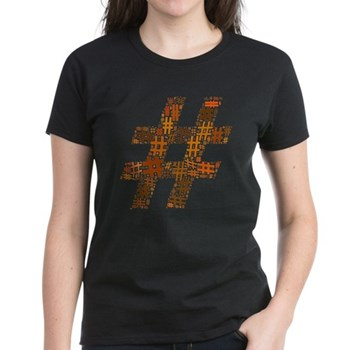 Orange Hashtag Cloud Women's Dark T-Shirt