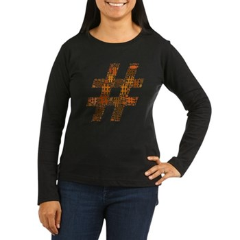Orange Hashtag Cloud Women's Dark Long Sleeve T-Sh