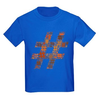 Orange Hashtag Cloud Kids Dark T-Shirt