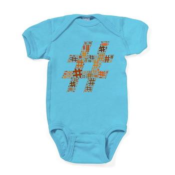 Orange Hashtag Cloud Baby Bodysuit