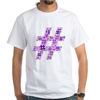 Purple Hashtag Cloud White T-Shirt