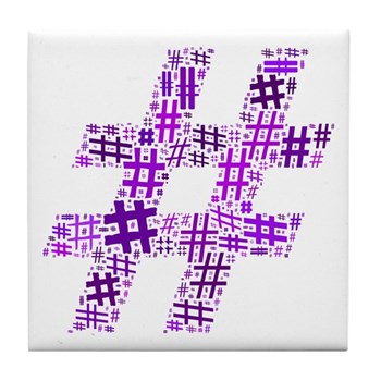 Purple Hashtag Cloud Tile Coaster