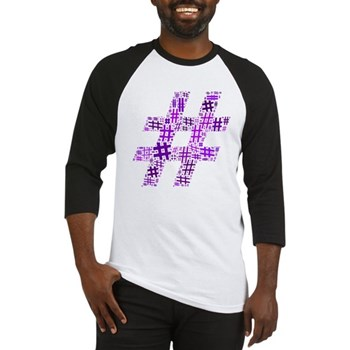 Purple Hashtag Cloud Baseball Jersey