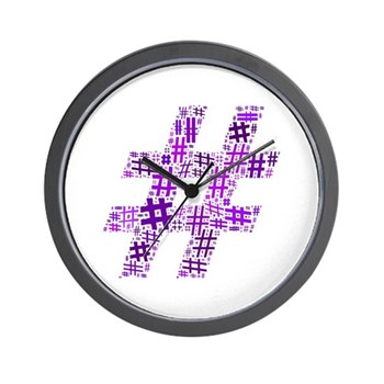 Purple Hashtag Cloud Wall Clock