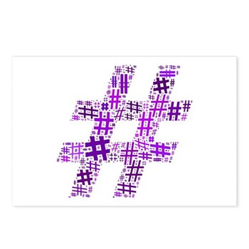 Purple Hashtag Cloud Postcards (Package of 8)