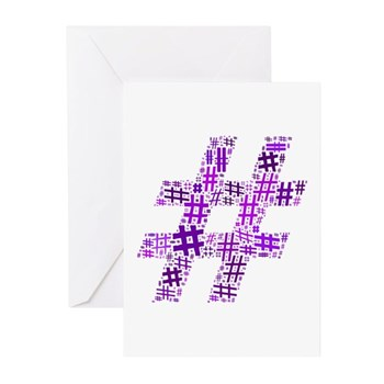 Purple Hashtag Cloud Greeting Cards (10 pack)