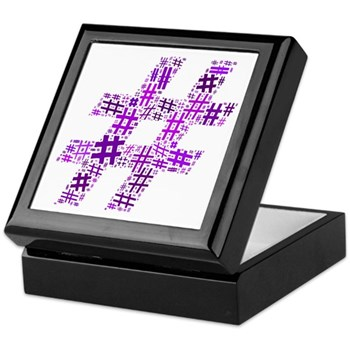 Purple Hashtag Cloud Keepsake Box