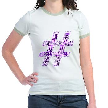 Purple Hashtag Cloud Jr. Ringer T-Shirt