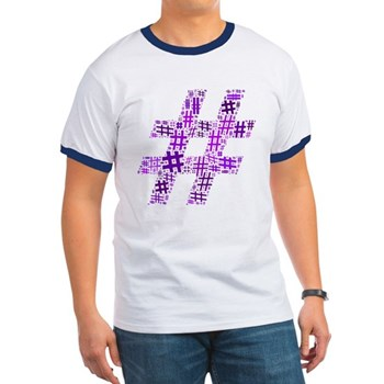 Purple Hashtag Cloud Ringer T-Shirt