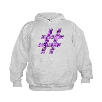 Purple Hashtag Cloud Kid's Hoodie