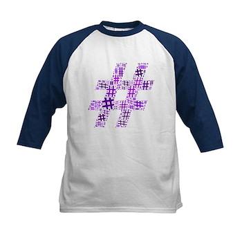 Purple Hashtag Cloud Kids Baseball Jersey