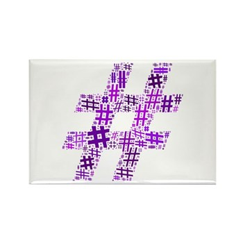 Purple Hashtag Cloud Rectangle Magnet