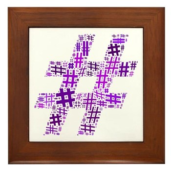 Purple Hashtag Cloud Framed Tile