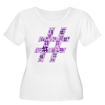 Purple Hashtag Cloud Women's Plus Size Scoop Neck