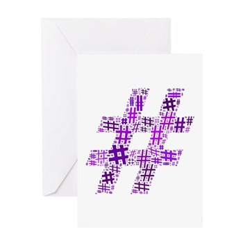 Purple Hashtag Cloud Greeting Card