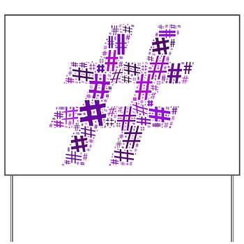 Purple Hashtag Cloud Yard Sign