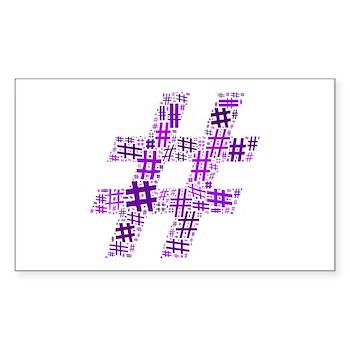 Purple Hashtag Cloud Rectangle Sticker (10 pack)