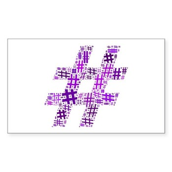 Purple Hashtag Cloud Rectangle Sticker (50 pack)