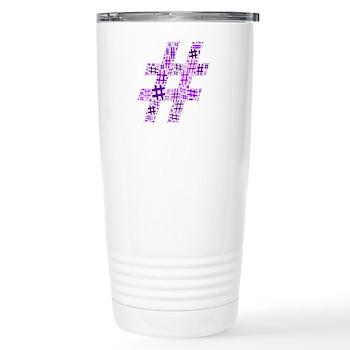 Purple Hashtag Cloud Stainless Steel Travel Mug