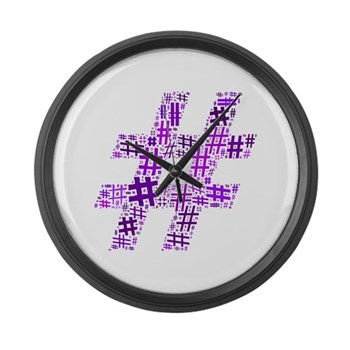 Purple Hashtag Cloud Large Wall Clock