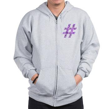 Purple Hashtag Cloud Zip Hoodie