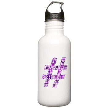 Purple Hashtag Cloud Stainless Water Bottle 1.0L