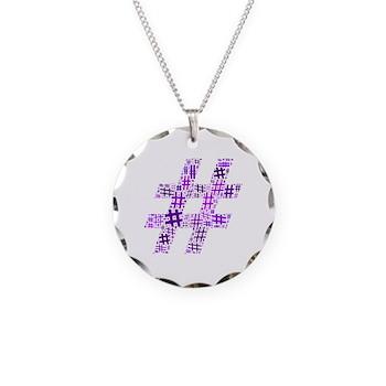 Purple Hashtag Cloud Necklace Circle Charm