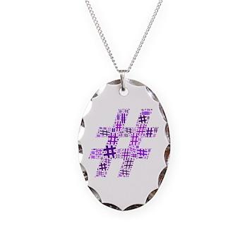 Purple Hashtag Cloud Necklace Oval Charm