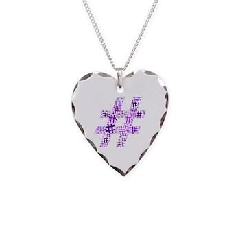 Purple Hashtag Cloud Necklace Heart Charm