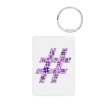 Purple Hashtag Cloud Aluminum Photo Keychain