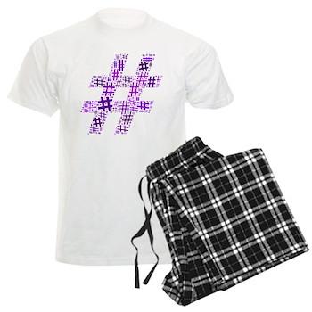 Purple Hashtag Cloud Men's Light Pajamas