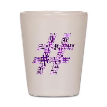 Purple Hashtag Cloud Shot Glass