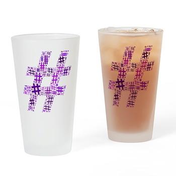 Purple Hashtag Cloud Drinking Glass