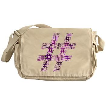 Purple Hashtag Cloud Canvas Messenger Bag