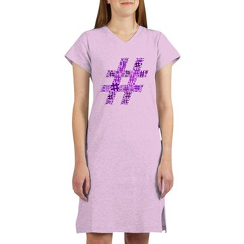 Purple Hashtag Cloud Women's Nightshirt