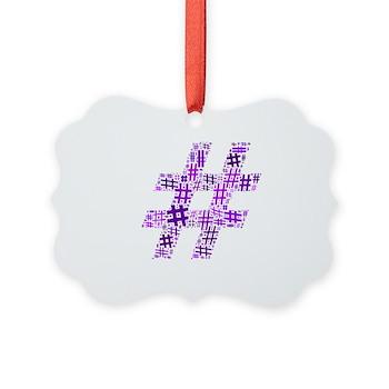 Purple Hashtag Cloud Picture Ornament