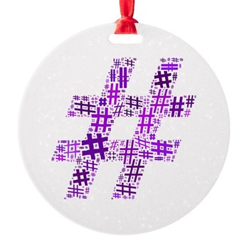 Purple Hashtag Cloud Round Ornament