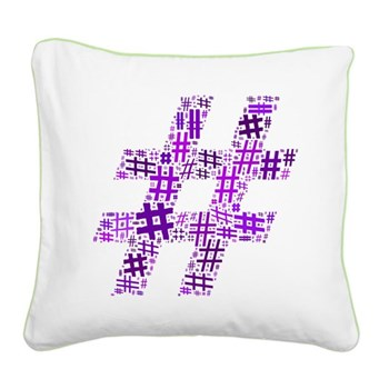 Purple Hashtag Cloud Square Canvas Pillow