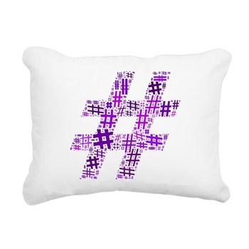 Purple Hashtag Cloud Rectangular Canvas Pillow