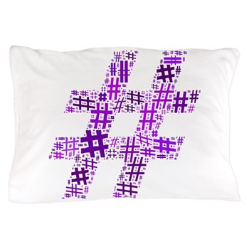 Purple Hashtag Cloud Pillow Case