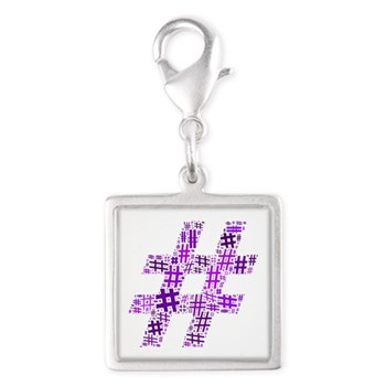 Purple Hashtag Cloud Silver Square Charm