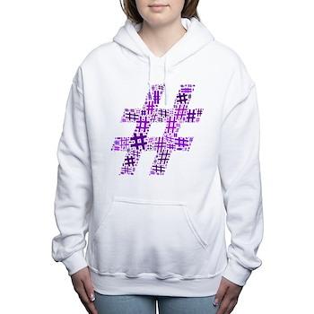 Purple Hashtag Cloud Women's Hooded Sweatshirt